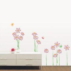 Flowers drawing wall decal AMB-0023 : Adesivi da muro e decorazioni stickers per pareti | Ambiance-live.com