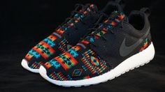 New Nike Roshe Run Custom Black Orange Red Hawaiian Edition     Base Color…