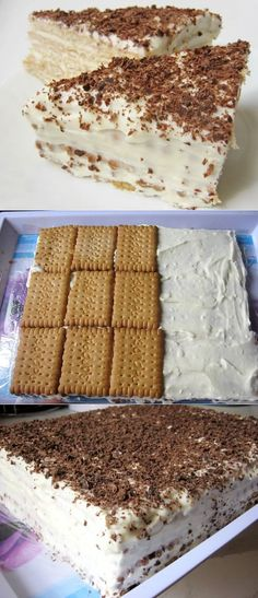 Our family simply loves cake without baking. Вку… Cake without baking our family … - Ukrainian Desserts, Russian Desserts, Russian Recipes, Ukrainian Recipes, No Bake Desserts, Delicious Desserts, Dessert Recipes, Yummy Food, Gourmet Recipes