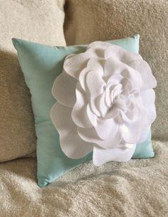 Flower Pillow White Rose on Aqua Pillow by bedbuggs on Etsy, $26.00
