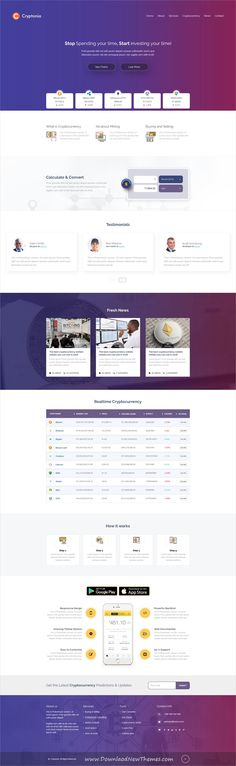 Cryptonia is clean and modern design #PSDtemplate for #cryptocurrency and bitcoin #mining website with 9 layered PSD files to live preview & download click on image or Visit  #webdesign