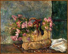Paul Gauguin - Still Life with Moss Roses in a Basket 1886