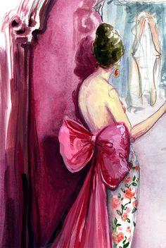 Lady in Oscar de la Renta by Katie Rodgers #Illustration #Artistic #fashion @N17DG