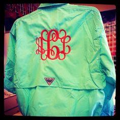Monogram Columbia Fishing Shirt PFG Font Shown INTERLOCKING. $49.99, via Etsy.