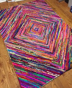Beautiful & colorful hand-woven rug.