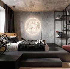 Men's Bedroom Ideas Masculine Interior Design – Home Decor İdeas Modern Industrial Bedroom Design, Modern Bedroom Design, Contemporary Bedroom, Modern Decor, Modern Mens Bedroom, Modern Luxury Bedroom, Luxury Home Decor, Luxury Homes, Men Home Decor