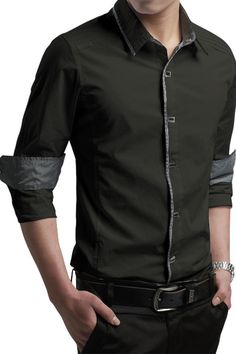 Button-Down Front Modern Slim Fit Army Green Mens Shirt                                                                                                                                                      More