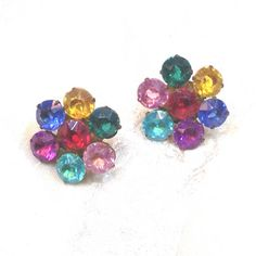 Vintage Crystal Rainbow Flower Earrings Mid-Century Screwback