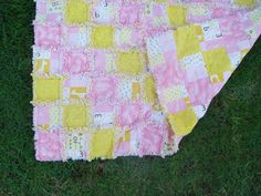 Pink and Yellow with Giraffes and Frogs Flannel Rag by AuntBugs, $78.50