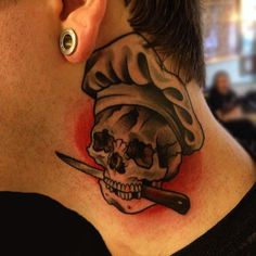 BODKIN TATTOO ARTISTE skull chef by Vincent Brun #traditionaltattoo https://www.facebook.com/vincentbruntattoo?fref=ts