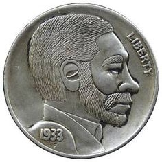 DAVE BOULAY HOBO NICKEL - MAN WITH BEARD AND MOUSTACHE* - 1933 BUFFALO PROFILE Hobo Nickel, Moustache, Bearded Men, Buffalo, Classic Style, Cactus, Auction, Carving, Profile
