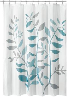 The Laurel fabric shower curtain has a botanical vine design & reinforced holes for easy hanging. Curtain & Bath Outlet decor has many color options! Clever Bathroom Storage, Fabric Shower Curtains, Modern Vintage Homes, Interdesign, Teal Shower Curtains, Curtains, Washroom Decor, Blue Grey, Light Blue Shower Curtain