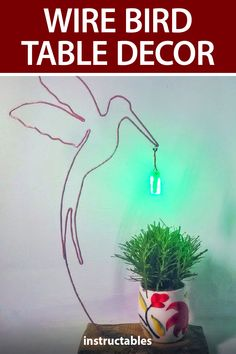 Mighty Lugh made this wire bird table decor out of insulated copper wire and hung a small LED strip from the end. #Instructables #electronics #technology #home #decor Led Projects, Led Strip, Copper Wire, Technology, Bird, Table Decorations, Electronics, Crafts, Design
