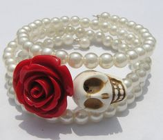 Day of the Dead Wedding Bracelet Vintage Faux by shabbyskull, $20.00