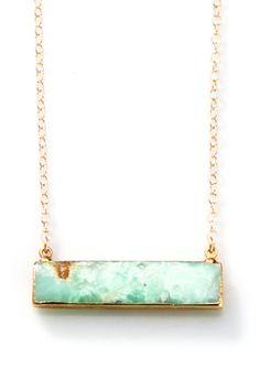 Gold edged Chrysoprase Bar Necklace - SideCHR by joydravecky on Etsy #JDJBarcollection
