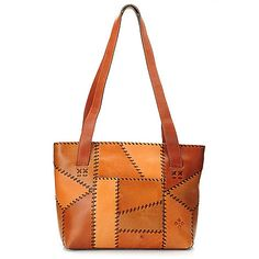 "Patricia Nash ""Nevoso"" Leather Dual Compartment Patchwork Tote Bag"