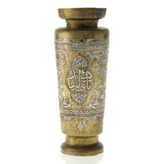 Islamic Brass Vase Inlaid with Silver and Copper in