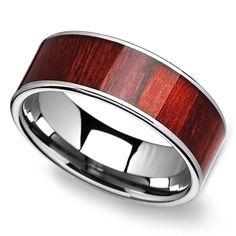 Brazilian Rosewood Inlay Men's Ring in Tungsten