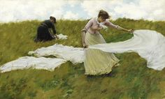 """A Breezy Day"" by Charles Courtney Curran (American painter, 1861-1942) is a gorgeous but romanticized depiction of nineteenth-century laundering!"