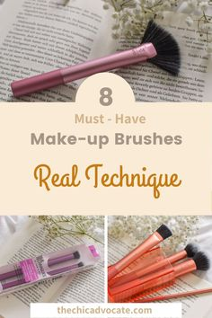 8 Make-up Brushes you really need to have in your collection. Let's start with the basic brushes for a radiant complexion. Here I have chosen this beautiful set from Real Techniques, which contains four brushes and a practical brush holder.       #makeup #makeupbrush #brush #brushes #mua #beautyblog #makeupguide