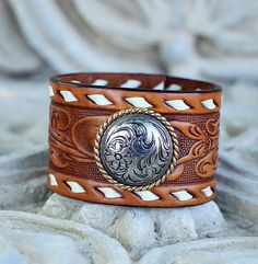 Brown Leather Tooled Western Belt Bracelet With Silver Tone Medallion