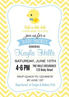 Rubber Ducky Baby Shower Invitation for Boy and by TweetPrints
