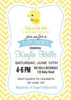 Rubber Duck Baby Shower Invitation Rub a Dub Dub Invitation
