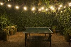 back yard with ping pong and pretty lights! <3