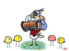 """k-eke: """" Kass is playing a happy song to the little birds ^^ Kass french name is Asamir :) Happy birds! """""""