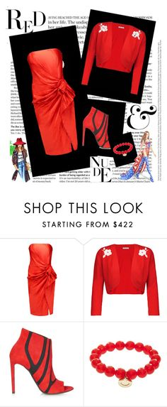 """Red Day"" by alice-287 ❤ liked on Polyvore featuring Lanvin, Tomas Maier, Balenciaga, Sydney Evan, WALL and Victoria's Secret"