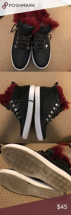 "ASOS Furry ""Snakeskin"" Sneakers Super cute sneakers. Furry around ankles. Black Snakeskin material. In excellent condition. International Size 4 I'm usually a 6/6.5 ASOS Shoes Sneakers"