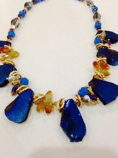 Nemesis hand made Peacock Ore  Druze and crystal necklace by NemesisNYC on Etsy