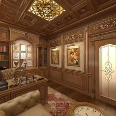 Office Furniture Design, Office Interior Design, Luxury Interior Design, Office Interiors, Interior Design Living Room, Wood Wall Design, Wall Panel Design, Ceiling Design, Home Library Design