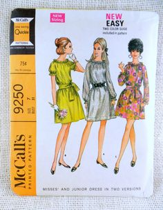 Items similar to McCall's 9250 Misses Boho Elastic Neckline Dress Sewing Pattern Size 10 Bust Blouse Ruffled Vintage on Etsy Childrens Sewing Patterns, Simplicity Sewing Patterns, Vintage Sewing Patterns, Clothing Patterns, Dress Patterns, Style Patterns, Vintage Knitting, Sewing Ideas, Sewing Crafts