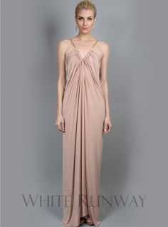 Bianca Dress. Very easy, loose fit V-neck maxi. Features crossover pieces of fabric which drapes down the middle. Ties together inside. Made from luxurious, stretch jersey.
