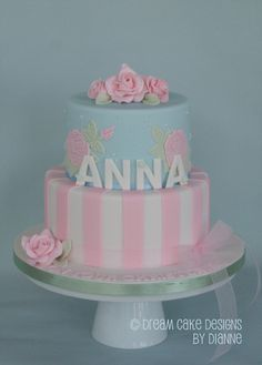 'ANNA' ~ ROSES CHRISTENING CAKE Naming Ceremony, Dream Cake, Baby Shower Gender Reveal, Beautiful Cakes, Cake Designs, Christening, Celebrations, Anna, Roses