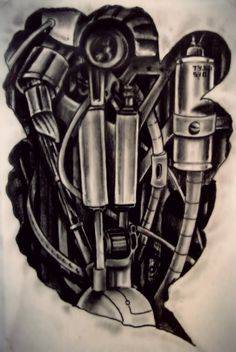 another part of my mech tattoo design this time is chest and shoulder design