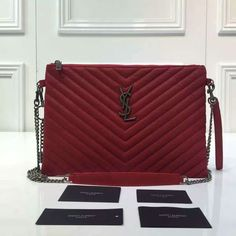 2016 A/W Yves Saint Laurent Monogram Matelassé Leather Pouch Wallet in Red
