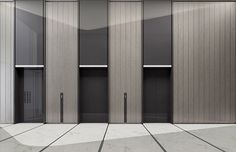 Lift doors with colour matched over panels Lobby Interior, Office Interior Design, Office Interiors, Interior Architecture, Corridor Design, Hall Design, Elevator Lobby Design, Hotel Corridor, Flur Design