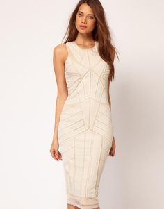 ASOS Midi Dress With Beading And Applique by ASOS