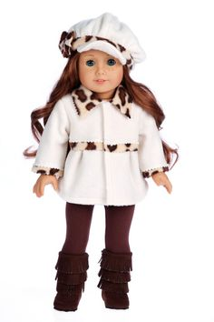 Marshmallow - 18 inch Doll Clothes - 4 Piece Doll Outfit - Doll Coat, Hat, Leggings and Boots