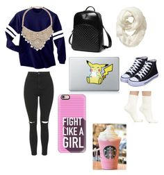 """Working on a project in Starbucks ☕️"" by leila-hussain on Polyvore featuring Topshop, Princess Carousel, Old Navy, Casetify, Bebe and Falke"