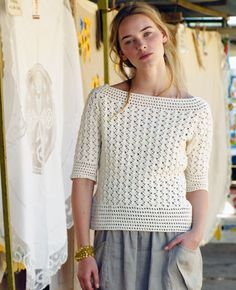 Download Menorca Sweater Crochet Pattern (FREE) I'm thinking of making this in a sunny yellow for wintery days :)