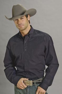 Stetson Mens Black 100% Cotton L/S 1 Pocket Western Shirt Solid Poplin