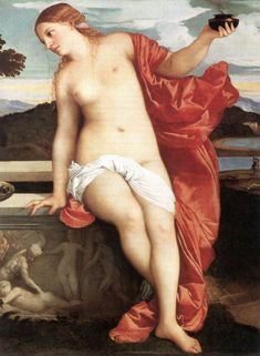 Sacred and Profane Love (detail) by TIZIANO Vecellio #art