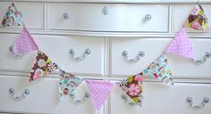 Pink and Aqua Mint Fabric Bunting Banner Paper Dolls by LoveSews