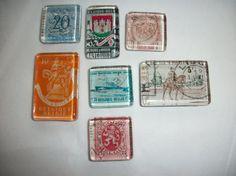 7 Vintage Postage Stamps from Belgium Belgique Glass Magnets!