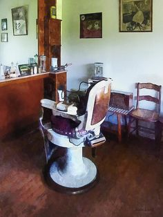 Barber - Old-Fashioned Barber Chair by Susan Savad Barber Supplies, Barber Chair, Barbershop, Fine Art Prints, Chairs, Interiors, Bathroom, Gift, Vintage