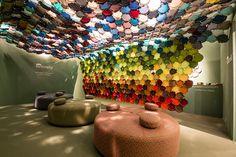 élise fouin creates vibrant sunbrella canopy during stockholm furniture fair