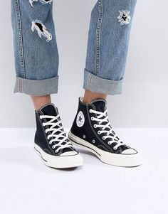 Converse Chuck Taylor All Star 70 High Top Sneakers In Black Black Chucks, Jeans And Converse, Black Sneakers, High Top Sneakers, Converse Sneakers, Converse High, Black Shoes, Converse Chuck Taylor All Star, Chuck Taylor Sneakers